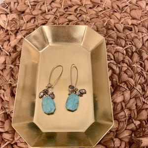 Turquoise and gunmetal charm earrings